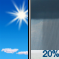 A slight chance of rain showers after noon. Sunny, with a high near 80. Chance of precipitation is 20%.