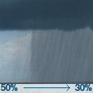 A chance of rain showers. Mostly cloudy, with a high near 56. Chance of precipitation is 50%. New rainfall amounts between a tenth and quarter of an inch possible.