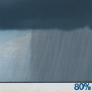 Rain showers. Cloudy, with a high near 57. West wind 2 to 9 mph. Chance of precipitation is 80%. New rainfall amounts less than a tenth of an inch possible.