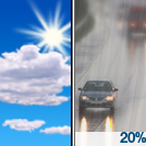 A slight chance of rain after 5pm. Mostly sunny, with a high near 67. Chance of precipitation is 20%.